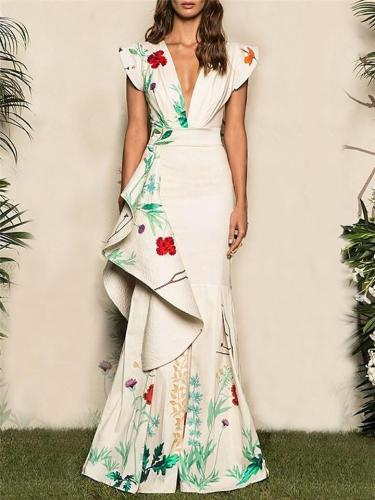 Pretty Deep V Neck Cap Sleeve Floral Print Maxi Dress for Prom