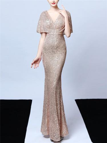Stunning Sequined Illusion Neckline Dress for Evening Party