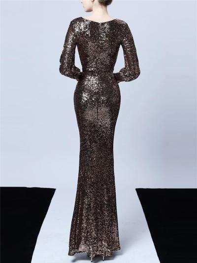 Stunning Sequined Wrap Neck Cutout Detail Mermaid Dress for Evening Party