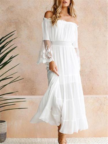 Decent Off Shoulder Floral Lace Pleated Dress for Wedding