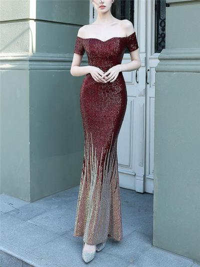 Shimmering Sequined Sweetheart Neckline Trumpet Dress for Formal Party