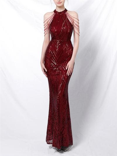Exquisite Sequined Halter Neck Dress for Evening Party