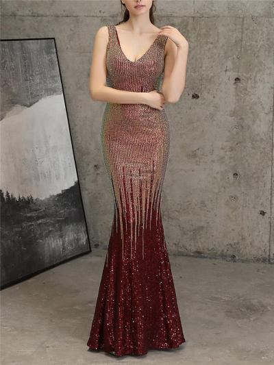 Exquisite Sequined V Neck Mermaid Maxi Dress for Evening Party