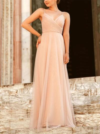 Flowing Spaghetti Strap Wrap Neck Tulle Maxi Dresses for Evening Party