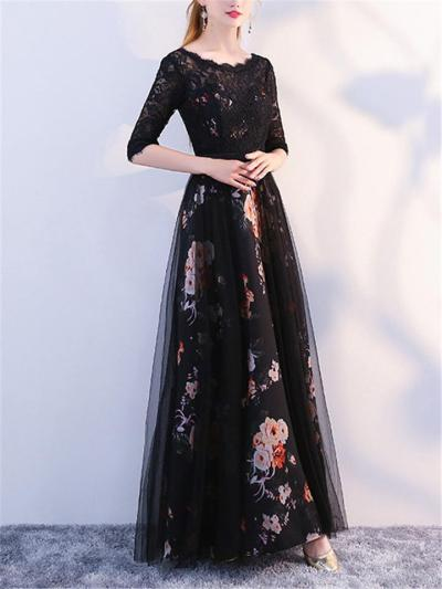 Flattering Floral Print Embroidered Tulle Gown for Prom