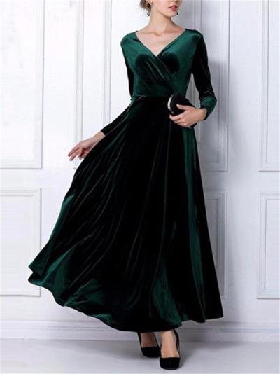 Elegant Velvet Wrap Neck Long Sleeve Maxi Dress for Evening