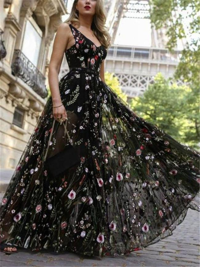 Flowing Floral Print Backless Fitted Waist Tulle Dress for Prom