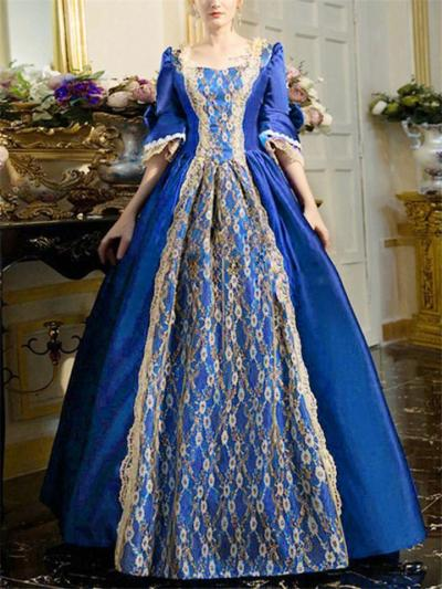 Vintage Style Floral Applique Satin Ball Gowns for Prom