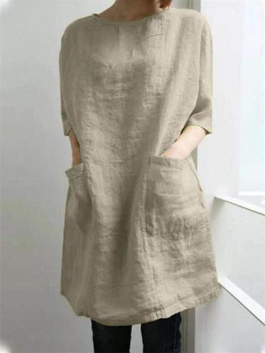 Soft Touch Minimalist Vintage Style Round Neck Half Sleeve Pocket Flare Dress