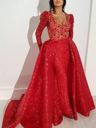 Flattering Sequined Low V Neck Flare Ball Gown for Prom