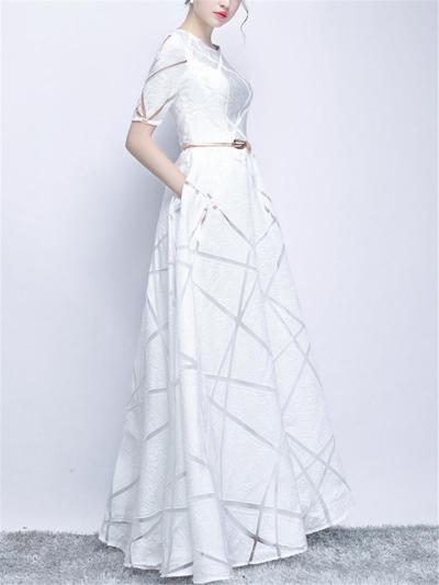 Gorgeous Fitted Waist Round Neck Short Sleeve Maxi Dress for Prom