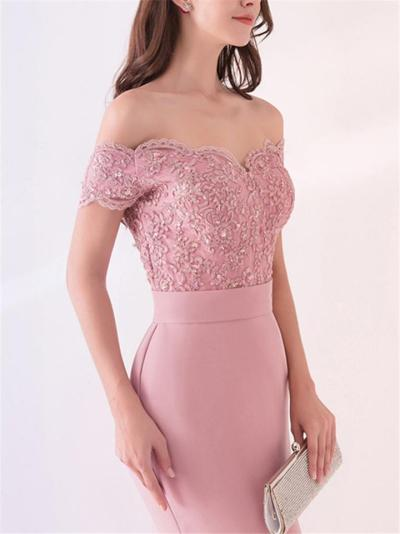 Pretty Mermaid Sweep Train Beaded Lace Long Evening Gowns for Prom