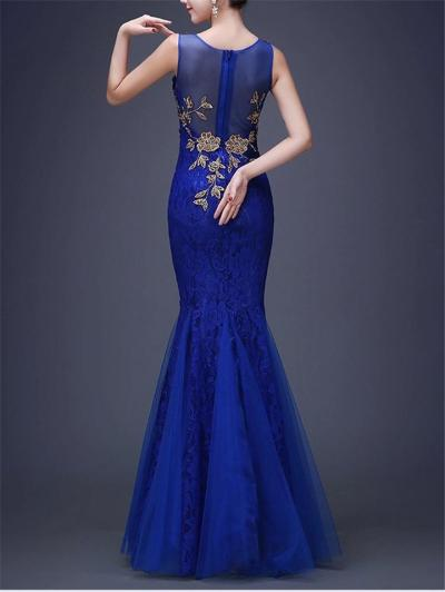 Sexy V Neck Trumpet Mermaid Sleeveless Lace Dress For Prom