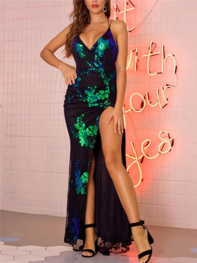 Exquisite Wrap Neck Sequined Thigh High Slit Dress for Evening Party