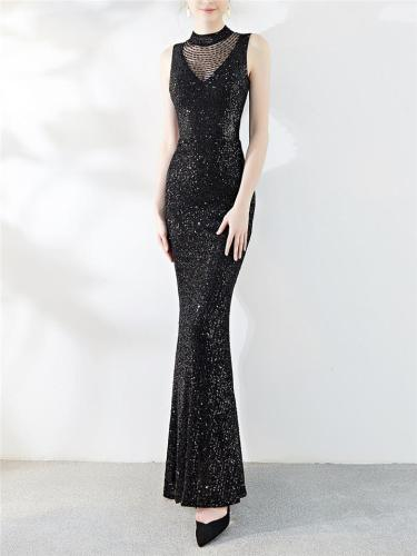 Exquisite Sequined Beaded Fitted Waist Mermaid Dress for Formal Party