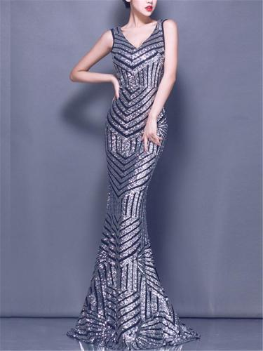 Gorgeous V Neck Mermaid Maxi Gowns for Evening