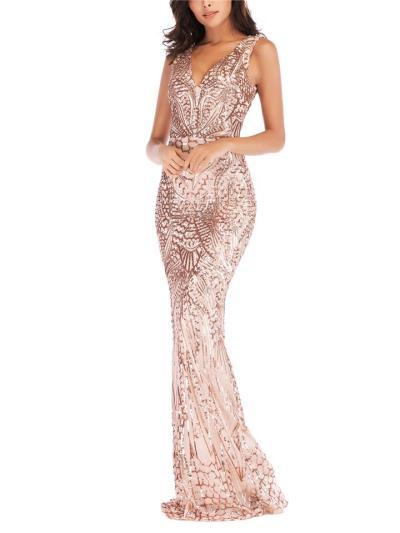 Gorgeous V Neck Backless Mermaid Dress for Evening