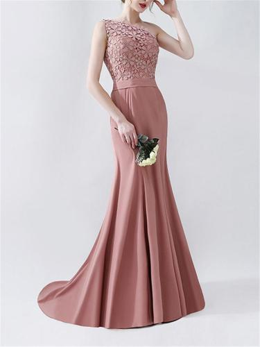 Gorgeous Applique One Shoulder Sweep Train Dress for Formal Party