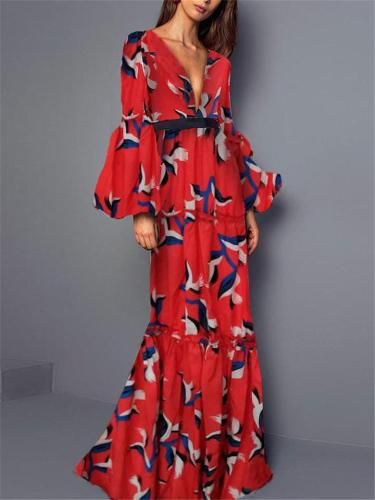 Stunning Fitted Waist V Neck Bell Sleeve Floral Printed Dress for Prom