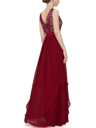 Glamorous Fitted Waist Round Neck Chiffon Dress for Evening Party