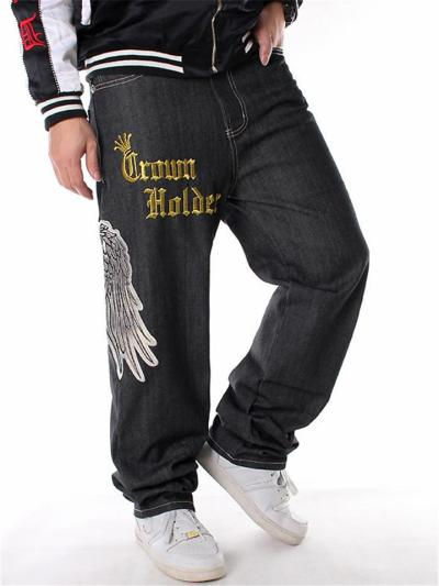 Hip Hop Loose Knitted Personality Straight Denim Pants