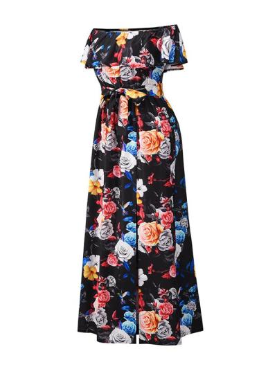 Pretty Floral Off the Shoulder Ruffle Tie-Waist Split Maxi Dress for Prom