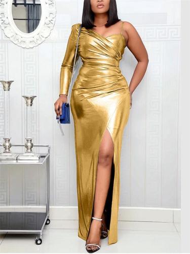 Flattering One Shoulder Ruched Design Thigh High Slit Dress for Prom