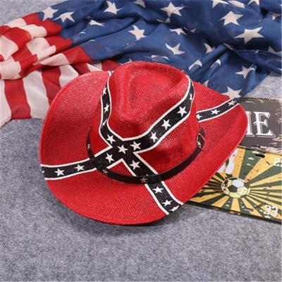 Men's Breathable Vintage USA American Flag Cowboy Hat
