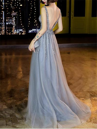 Exquisite Fitted Waist Backless Tulle Dress for Formal Party