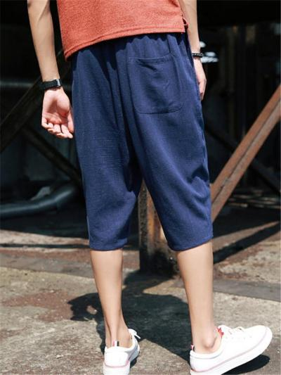 Casual Loose Linen Cropped Harem Pants
