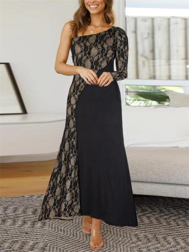 Gorgeous One Shoulder Lace Patchwork Dress for Prom