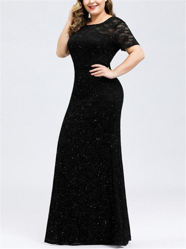 Exquisite Round Neck Short Sleeve Lace Maxi Dress for Evening Party