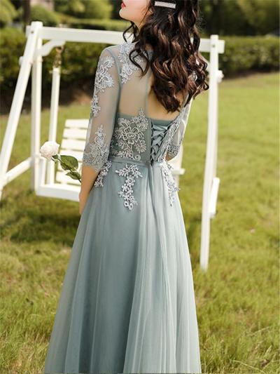 Flattering Applique Half Sleeve Backless Tulle Dress for Prom