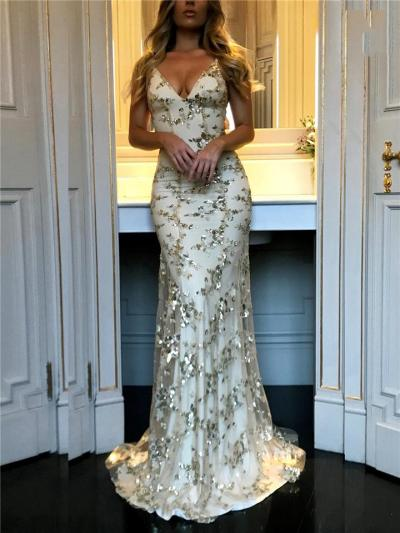 Stunning V Neck Sequined Mermaid Strappy Dress for Prom