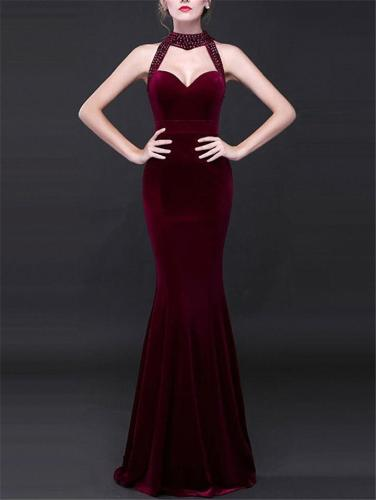 Sexy Sweetheart Neckline Mermaid Velvet Long Maxi Dress for Evening
