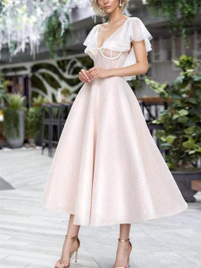 Flattering V Neck Cap Sleeve Backless Fitted Waist Dress for Evening Party