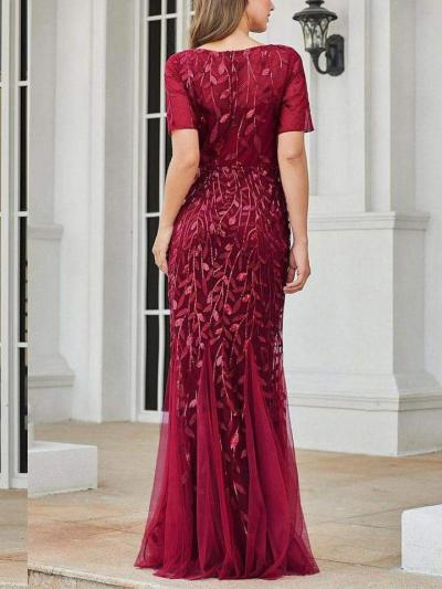 Floral Print Sequined Fishtail Tulle Maxi Long Dresses with Half Sleeve