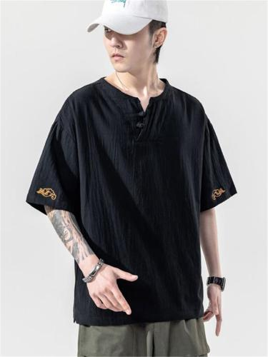 Casual Linen V Neck Loose Short Sleeve T-Shirts