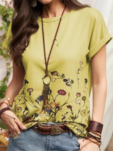 Casual-Cut On-Trendy Floral Print Straight Hem Crew Neck T-Shirt