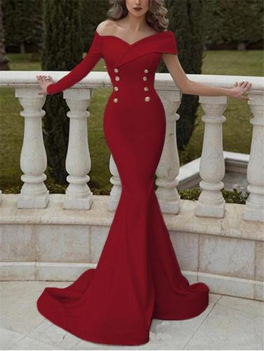 Flattering One Long Sleeve Double Button Mermaid Gown for Evening Party