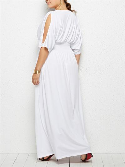 Pretty Round Neck Fitted Waist Cutout Detail Maxi Dress for Evening Party