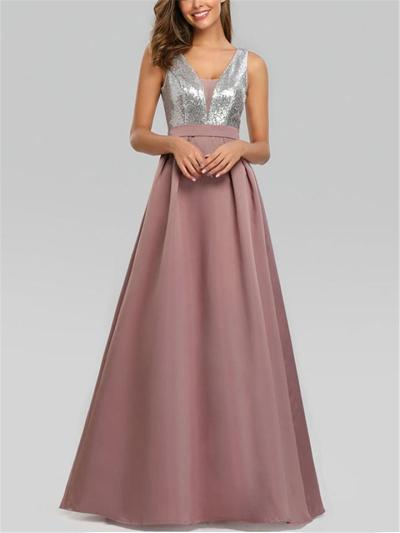 Pretty V Neck Fitted Waist Pleated A Line Dress for Formal Party