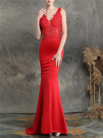 Exquisite Applique V Neck Satin Mermaid Dress for Formal Party