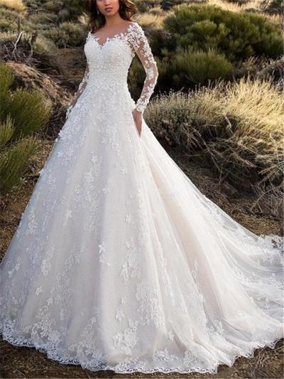 Gorgeous Sweetheart Neckline Lace Applique Fitted Waist Dress for Wedding
