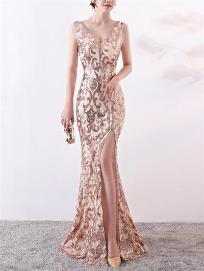 Elegant V Neck Thigh High Slit Mermaid Dress for Evening Party