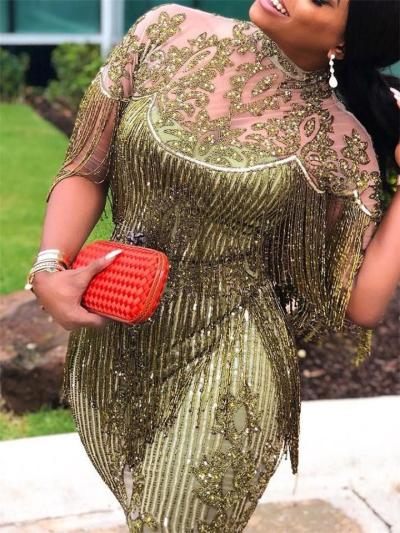 Shimmering Sequined Fringed Illusion Neck Mermaid Dress for Party