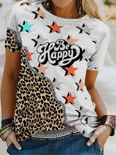 On-Trendy Relaxed-Cut Leopard Print Crew Neck Short Sleeve T-Shirt