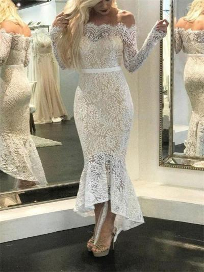White Bateau Neck Off Shoulder Mermaid High Low Dress for Evening Party