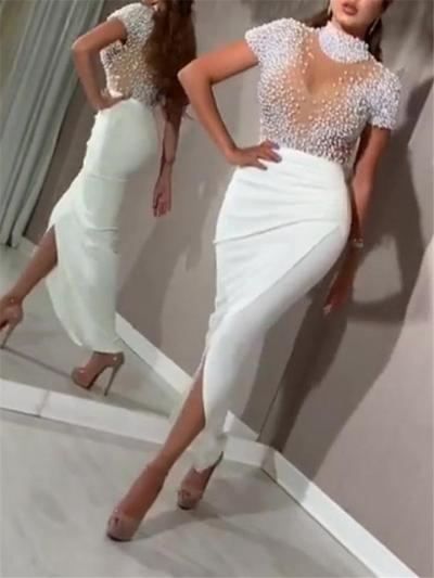 Sexy Bodycon Wrap Slit Beaded Dress for Prom