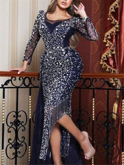 Glamorous Sequined Asymmetric Tassel Hem Dress for Prom